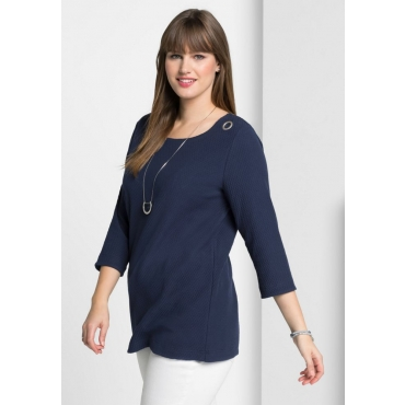 Große Größen: Shirt in Waffelpiqué-Optik, marine, Gr.40/42-56/58