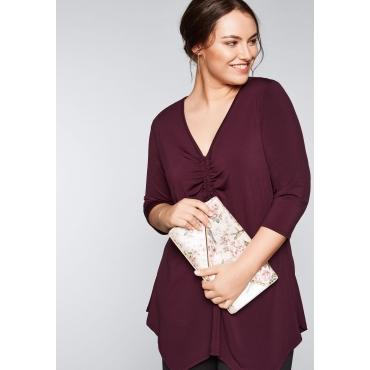 Große Größen: Shirt in Zipfelform, aubergine, Gr.44/46-56/58