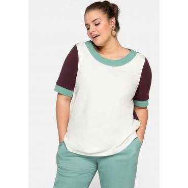 Shirt Kurzarm im Colorblocking-Stil, aus Jersey, aubergine-offwhite, Gr.44/46-56/58