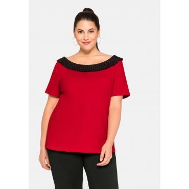 Shirt leicht tailliert, mit gepunktetem Carmenkragen, karminrot, Gr.44/46-56/58