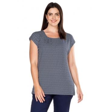 Große Größen: Shirt, marine-weiß, Gr.40/42-56/58