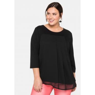 Shirt mit 3/4-Ärmeln im Materialmix, schwarz, Gr.44/46-56/58