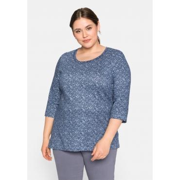 Shirt mit 3/4-Ärmeln und Alloverdruck, eisblau, Gr.44/46-56/58