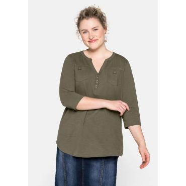 Shirt mit 3/4-Ärmeln und Brusttaschen, dunkelkhaki, Gr.44/46-56/58