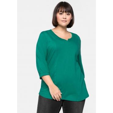 Shirt mit 3/4-Ärmeln und Teilungsnähten, grün, Gr.44/46-56/58