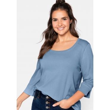 Shirt mit 3/4-Ärmeln und weitem Rundhalsausschnitt, eisblau, Gr.44/46-56/58