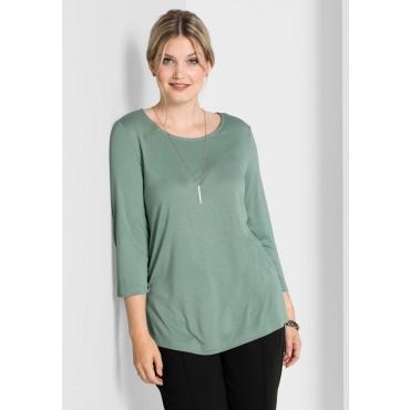 Große Größen: Shirt mit 3/4-Arm, eukalyptus, Gr.40/42-56/58