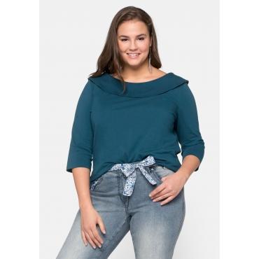 Shirt mit 3/4-Arm und Carmen-Ausschnitt, dunkelpetrol, Gr.44/46-56/58