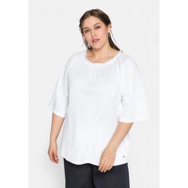 Shirt mit 3/4-Arm und gesmoktem Rundhalsausschnitt, weiß, Gr.44/46-56/58