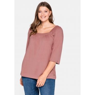 Shirt mit 3/4-Arm und Karree-Ausschnitt, altrosa, Gr.44/46-56/58
