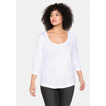 Shirt mit 3/4-Arm und weitem Rundhalsausschnitt, weiß, Gr.40/42-56/58