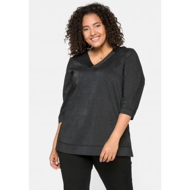 Shirt mit 3/4-Arm, V-Ausschnitt und Effektgarn, schwarz, Gr.44/46-56/58