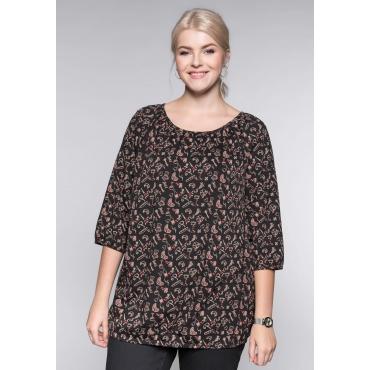 Große Größen: Shirt mit 3/4-langen Raglanärmeln und Gummibund, anthrazit bedruckt, Gr.44/46-56/58