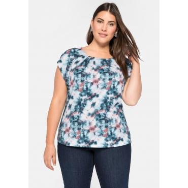 Shirt mit Allover-Batikdruck und Rundhalsausschnitt, petrol bedruckt, Gr.44/46-56/58