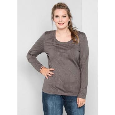 Große Größen: Shirt mit Alloverdruck, dunkelgrau, Gr.40/42-56/58