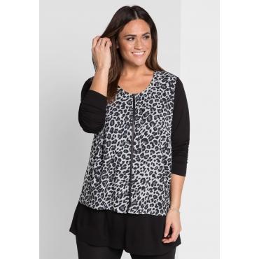Shirt mit Animal-Druck, schwarz bedruckt, Gr.44/46-56/58