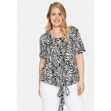 Shirt mit Animalprint und geknotetem Saum, weiß-schwarz, Gr.40/42-56/58