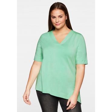 Shirt mit asymmetrischem Saum, mint, Gr.44/46-56/58