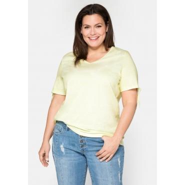 Shirt mit Aufdruck und V-Ausschnitt, aus Baumwolle, hellgelb, Gr.44/46-56/58