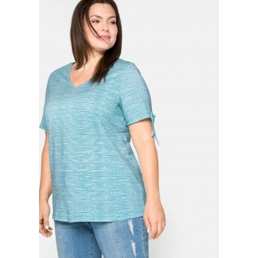 Shirt mit Aufdruck und V-Ausschnitt, aus Baumwolle, türkis, Gr.44/46-56/58