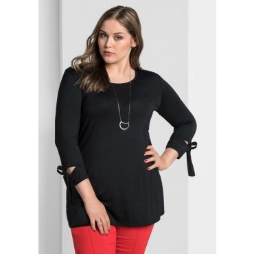 Große Größen: Shirt mit Bindeband am Ärmel, schwarz, Gr.40/42-56/58