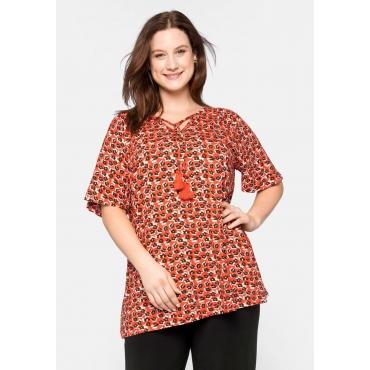 Shirt mit Bindeband und Flügelärmeln, orange, Gr.44/46-56/58