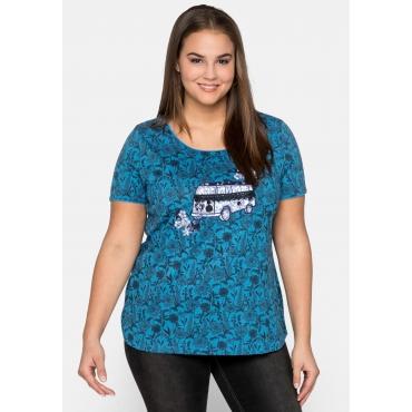 Shirt mit Blumen-Alloverdruck und Applikation, rauchblau bedruckt, Gr.44/46-56/58
