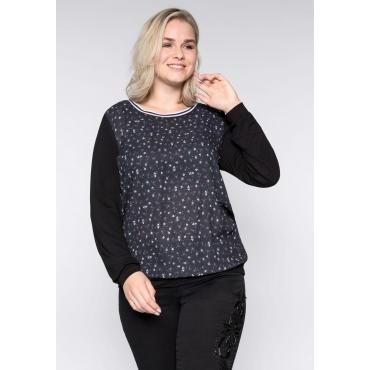 Große Größen: Shirt mit Blumendruck, schwarz, Gr.44/46-56/58