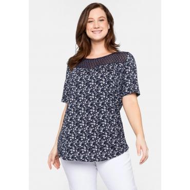 Shirt mit Blumendruck und Spitze, aus Viskose, marine bedruckt, Gr.44/46-56/58
