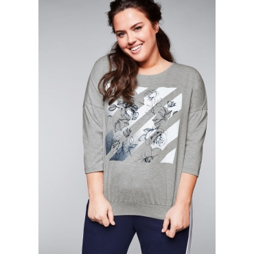 Große Größen: Shirt mit breitem Bund, grau meliert, Gr.44/46-56/58