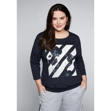 Große Größen: Shirt mit breitem Bund, marine, Gr.44/46-56/58