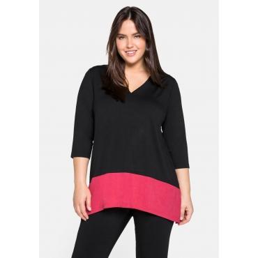 Shirt mit breitem Kontrastsaum, aus Single-Jersey, schwarz, Gr.44/46-56/58