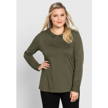 Große Größen: Shirt mit Bubikragen aus Spitze, khaki, Gr.40/42-56/58