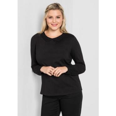 Große Größen: Shirt mit Bubikragen aus Spitze, schwarz, Gr.40/42-56/58
