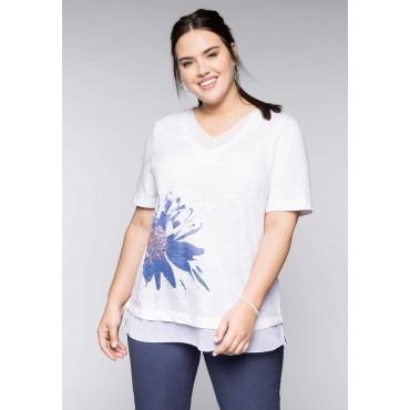 Große Größen: Shirt in 2-in-1-Optik mit Chiffon, weiß, Gr.44/46-56/58