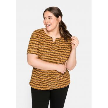 Shirt mit Cut-out am Ausschnitt und Alloverdruck, curry bedruckt, Gr.44/46-56/58
