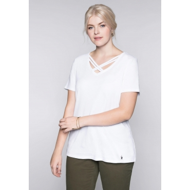 Große Größen: Shirt mit dekorativem Ausschnitt, weiß, Gr.44/46-56/58