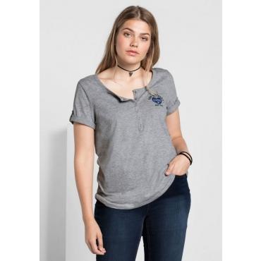 Shirt mit Druck, Knopfleiste und kurzen Ärmeln, grau meliert, Gr.40/42-56/58