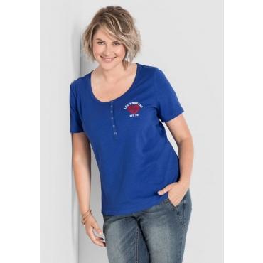 Shirt mit Druck, Knopfleiste und kurzen Ärmeln, royalblau, Gr.40/42-56/58