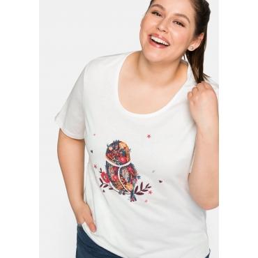 Shirt mit Eulenprint und verlängerten Ärmeln, offwhite, Gr.44/46-56/58
