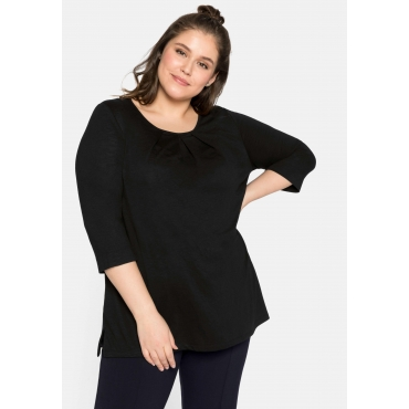 Shirt mit Falten am Rundhalsausschnitt und 3/4-Ärmeln, schwarz, Gr.44/46-56/58