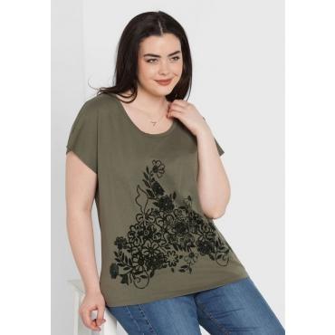 Große Größen: Shirt mit Flockprint, dunkelkhaki, Gr.44/46-56/58