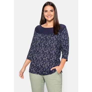 Shirt mit floralem Alloverdruck und Einsatz aus Mesh, lila bedruckt, Gr.44/46-56/58