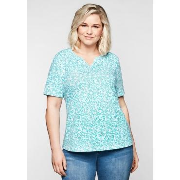 Shirt mit floralem Alloverprint, in leichter A-Linie, karibiktürkis bedruckt, Gr.44/46-56/58
