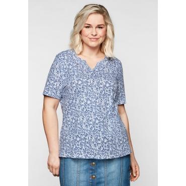Shirt mit floralem Alloverprint, in leichter A-Linie, royalblau-weiß, Gr.44/46-56/58