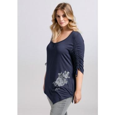 Große Größen: Shirt mit floralem Druck, marine, Gr.44/46-56/58