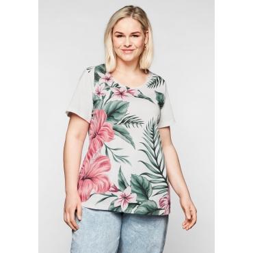 Shirt mit floralem Print vorn, aus Jerseyqualität, offwhite bedruckt, Gr.44/46-56/58