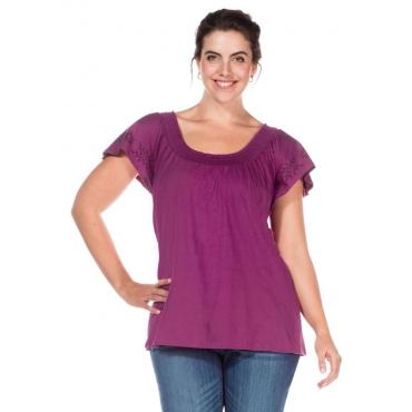 Große Größen: Shirt mit Flügelärmeln, lila, Gr.40/42-56/58