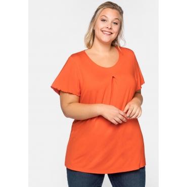 Shirt mit Flügelärmeln und Kellerfalte, orange, Gr.44/46-56/58
