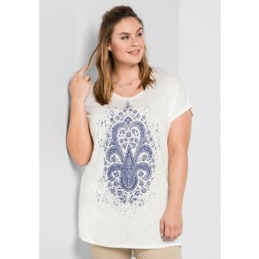 Shirt in Oversize-Form mit Frontdruck, offwhite, Gr.44/46-56/58